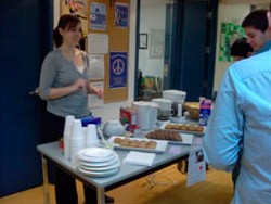 Selling pancakes to raise money for the LSI Toronto Haiti Earthquake appeal