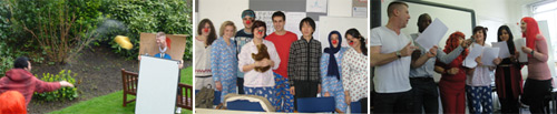 LSI London Hampstead students and teachers having fun on Red Nose Day