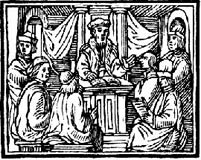 Medieval teacher and students