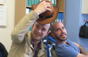 Marketing colleague Andras Zareczky takes his hat off to his new team member, Carmelo
