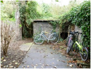 This part of the garden was used for bike storage
