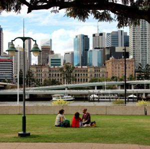 Central Brisbane park with city skyline