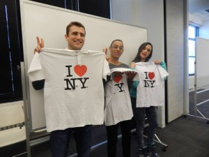 Students won t-shirts in our English speaking raffle draw