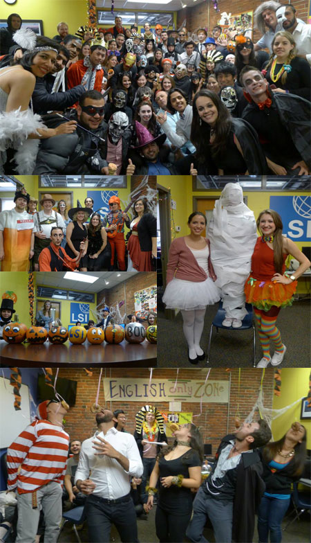 Halloween madness: Clockwise from top ( Students and staff, wrap the mummy, donut eating contest, painted pumpkins, our students