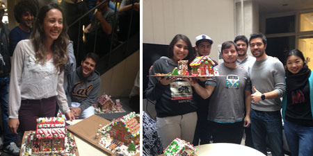Ann Bassini Milanezi with her Gingerbread House (left) and the winners with the 3 Little Pigs (right)