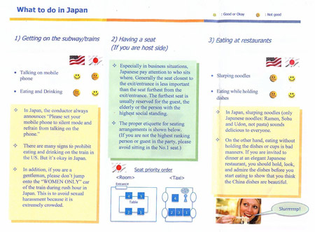 Highlighting differences in etiquette between Japan and the USA