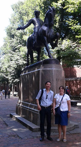 LSI students in front of Paul Revere Statue
