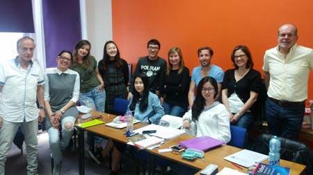 Eduardo with classmates at LSI Brighton