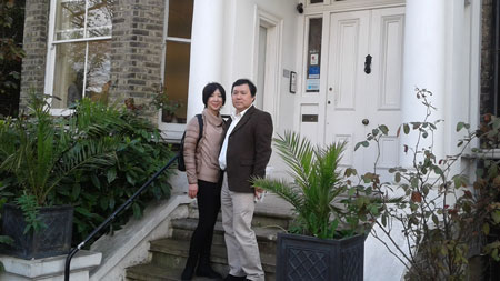 AKiyo and Takashi on the steps of LSI London Hampstead