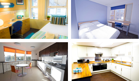 Bedrooms and kitchens at Phoenix Halls Student Residence
